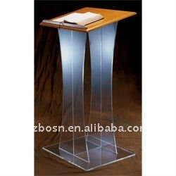 Clear Acrylic Lectern with Wood Top