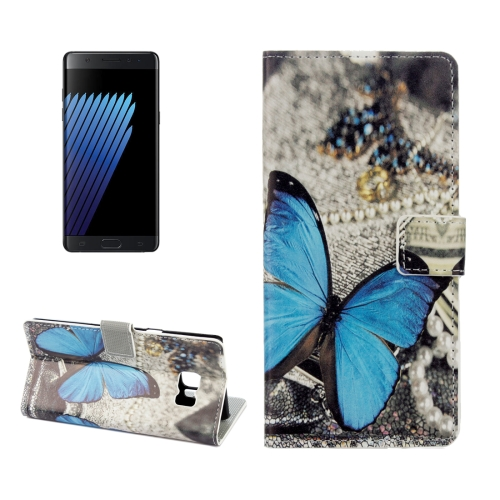 Fashion Flip leather case for Samsung Galaxy note 7 Owl Blue Butterfly Phone Case Cover