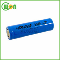 Li ion 14500 battery 3.7V 700mAh ICR14500 Lithium ion battery AA size