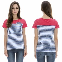 wholesale short sleeve stripe cotton custom women t shirts