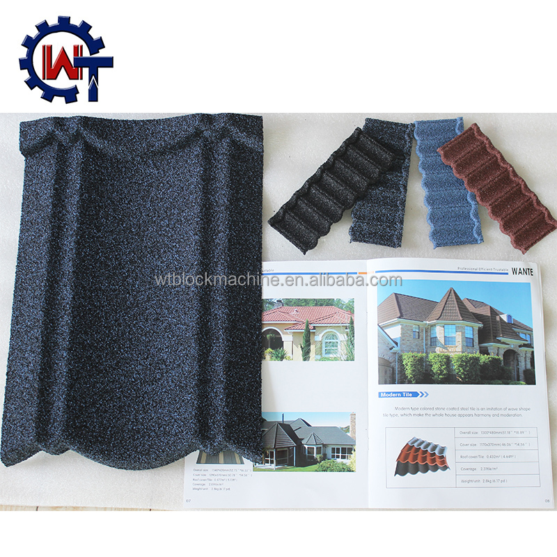 Cheap stone chips coated steel asphalt shingles from China