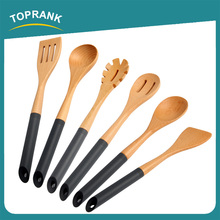 Toprank Alibaba Gold Supplier Spatula Spoon Turner Cooking Utensils Set Silicone Handle 6 Piece Beech Wooden Kitchen Utensil Set