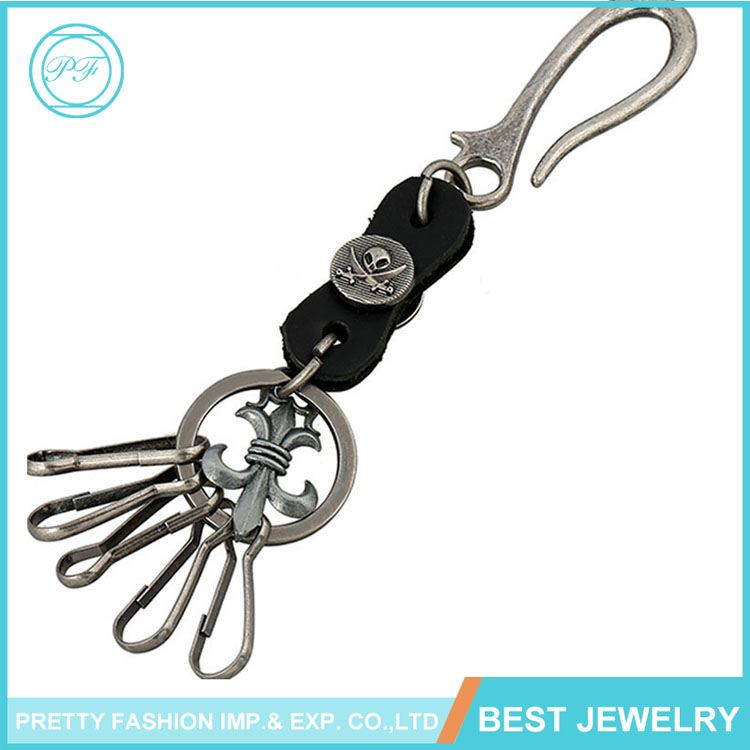 High Quality Make Embossed Black Leather Keychain Men's Waisit Keyring