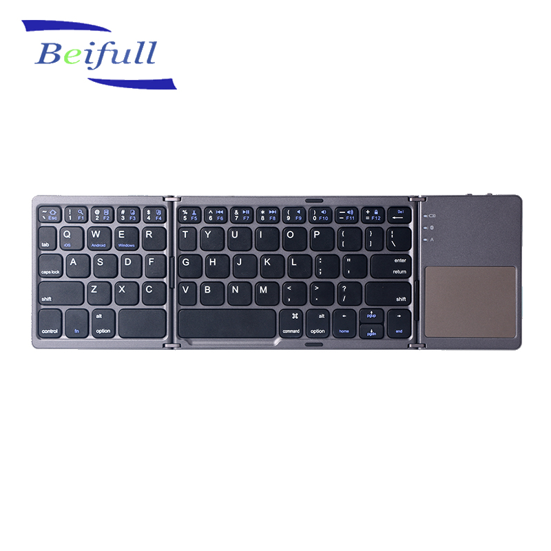 Mini Triple Folding wireless BT Keyboard With Touchpad offered from original factory