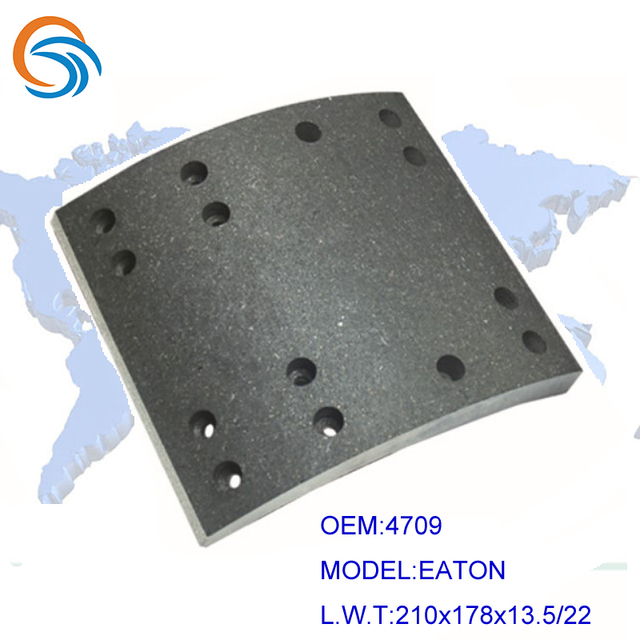 High Quality Non-asbestos OEM 4709 Brake lining for EATON Size 210x178x13.5/22