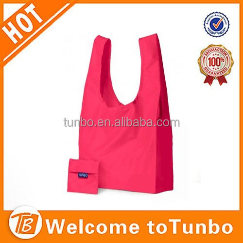 Folding nylon tote bag folding bag into pouch shopping bag with logo