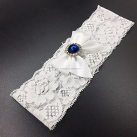 White Blue Lace Wedding Garter Bridal