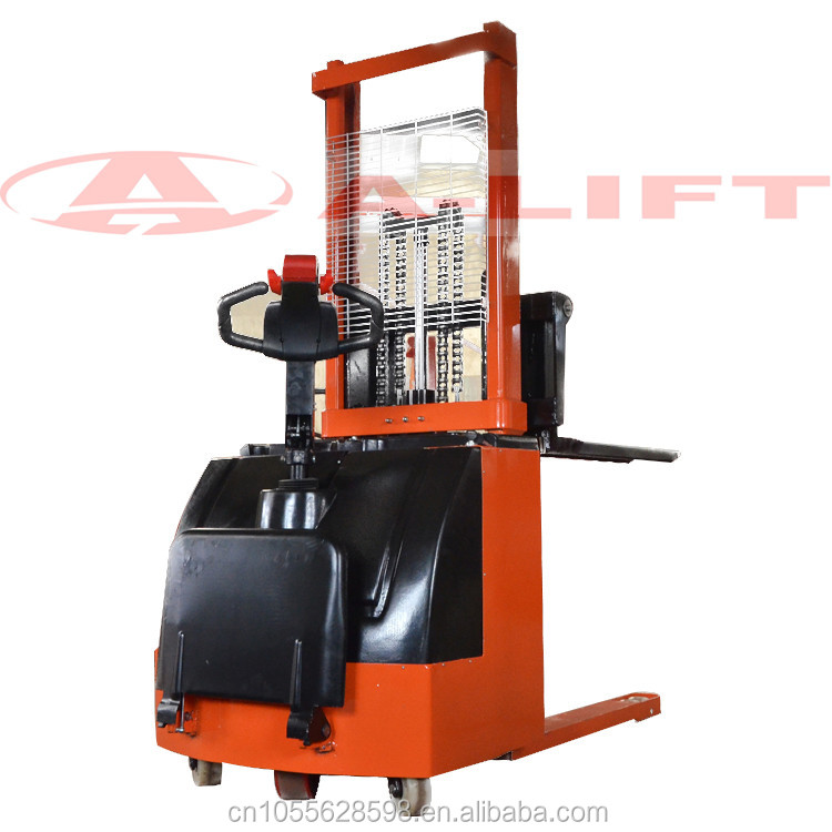 2 TONS ELECTRIC STACKER WITH PLACE FOR OPERATOR, 3 M LIFTING HEIGHT