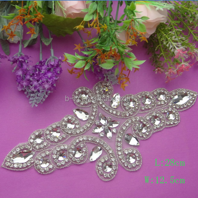 Handmade silver beaded rhinstone acrylic trim for applique garment