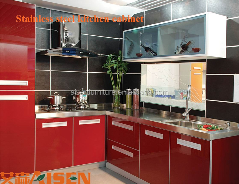 China factory price stainless steel modular cheap kitchen for Stainless steel kitchen cabinet price