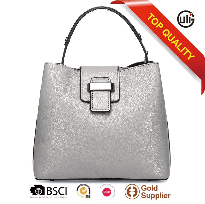 Eco-Friendly Factory unique top layer leather female casual bags antique metal accessory handbags