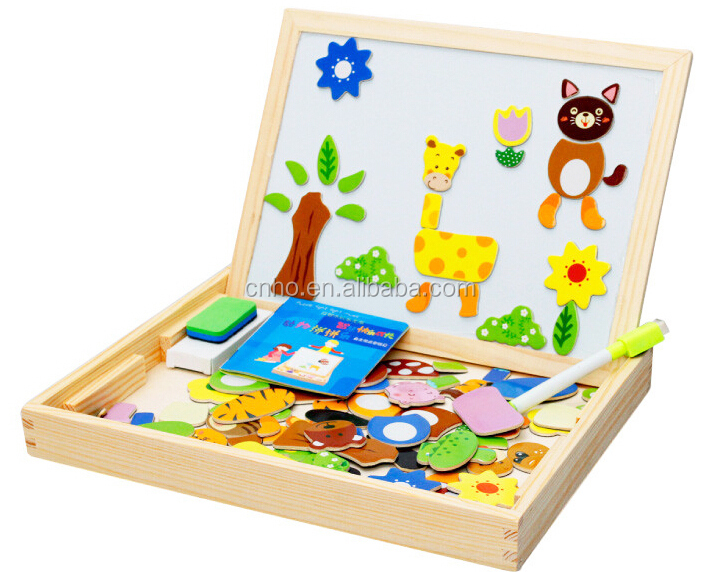 Magnetic Wooden Jigsaw Puzzle for Children with Drawing Board Blackboard