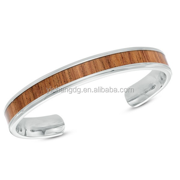 Men's Light Wood Inlay Cuff Bracelet in Stainless Steel