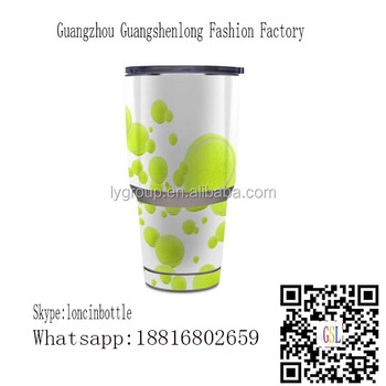 Custom Baseball Stainless Steel Tumbler,Tennis Balls double wall vacuum stainless steel tumbler 30oz