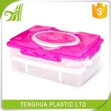 Portable Plastic Double For Egg Crisper Fridge Storage Box