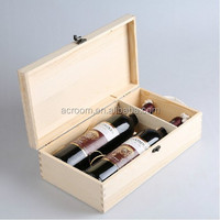 Wholesale new coming cheap custom wooden wine crates for sale for 2 bottles packaging boxes