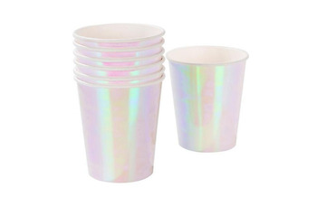 Shiny Iridescent paper cups for birthday party for hot and cold drinks