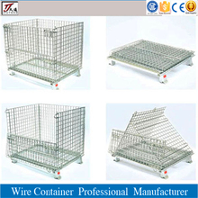 Portable folding metal wire storage container
