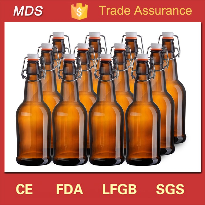 Wholesale custom amber beer glass brewing bottle with clip lid