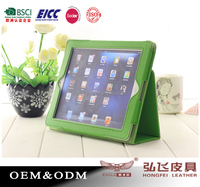 BSCI factory wholesale Stand Function PU Protective Case for The new iPad,Fruit Green