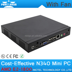 Partaker N340 Barebone Mini Desktop PC Case with E2 1800 Dual Core 1.7GHZ High Quality Iron Shell Support Bluetooth