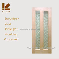 china factory triple glass mdf mahogany veneer room use entry door glass inserts