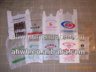 HDPE Supermarket transparent plastic t-shirt bag