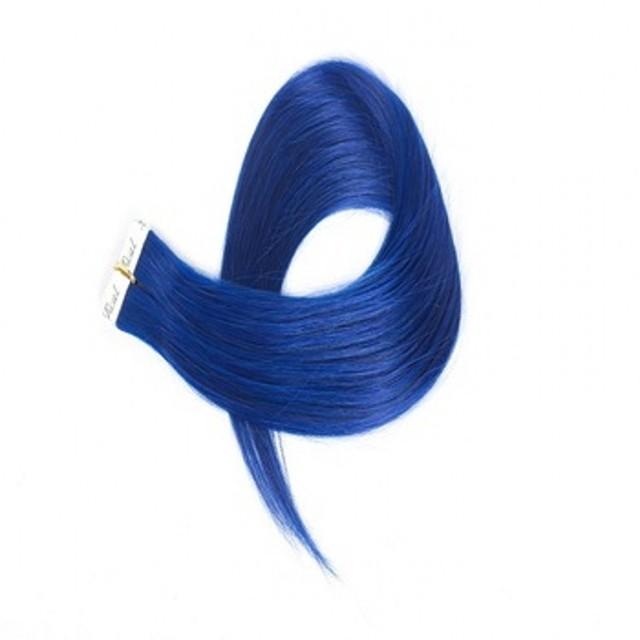 Grade 7a peruvian virgin remy tape in blue long human hair extensions uk