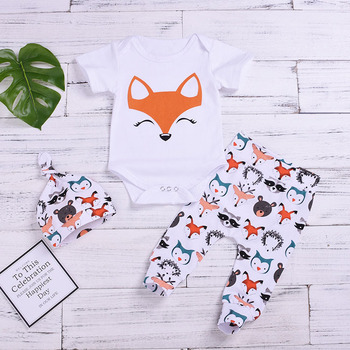 Babys Short Sleeve Cartoon Fox Rabbit Print Romper 3pcs Set For New Born Kids,Newborn Infant Baby Cloth,Baby Girl Summer Set