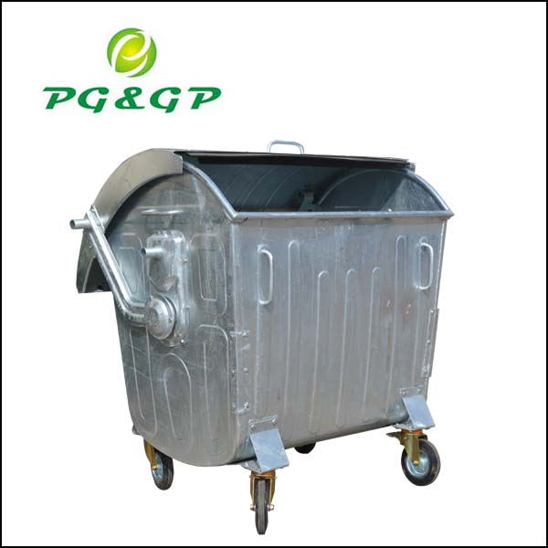 Metal dustbin with wheels