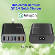 Shenzhen OEM factory Rapid charge mobile phone charger 6 usb ports 12A 60W Qualcomm QC2.0 technology