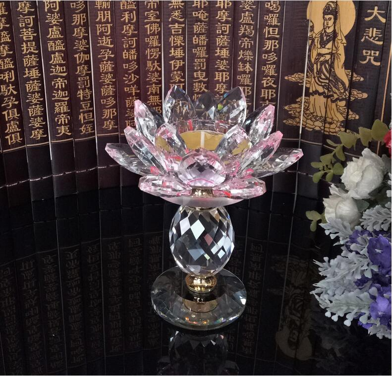 YX276 High quality k9 crystal crafts buddhist supply votive colorful crystal lotus candle holder