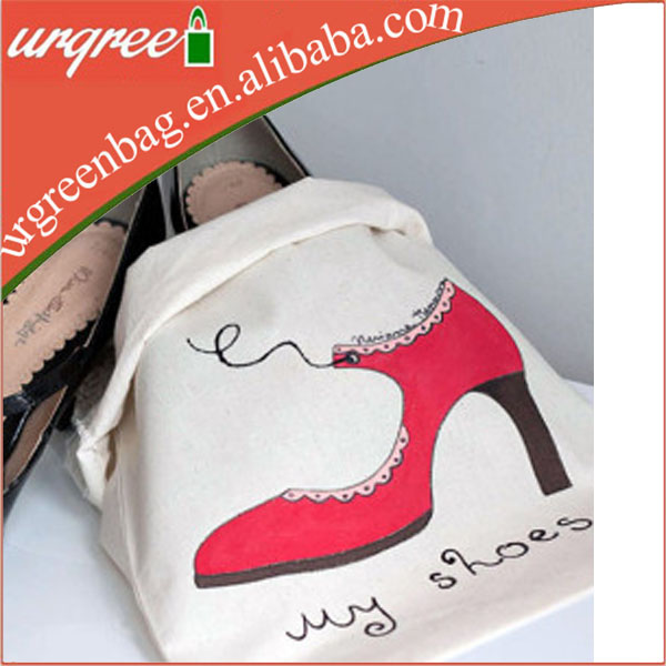 Wholesale cotton drawstring shoe bag / custom shoe dust bag