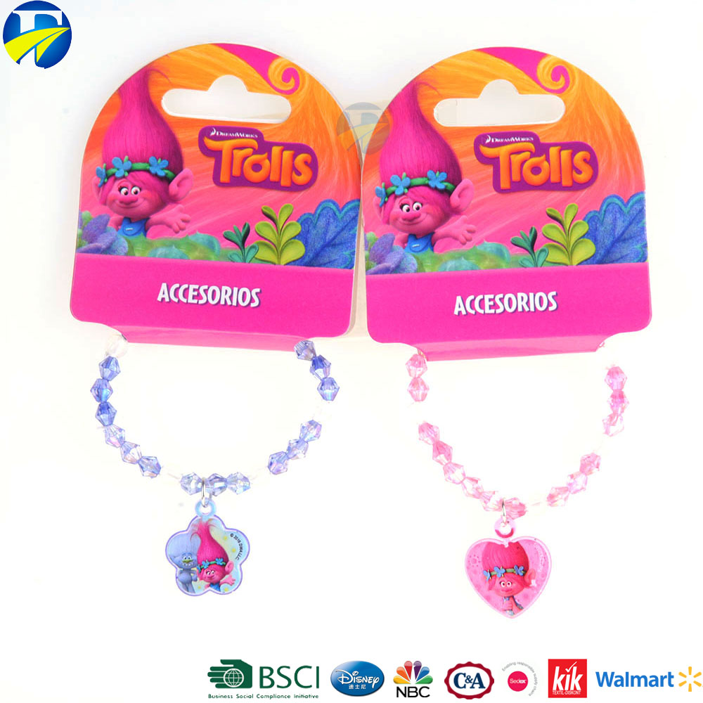 FJ brand fashion kids bracelet cute cheap jewelry pink and blue colorful trolls bracelet made in china for children