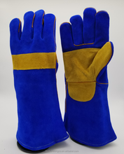 Heavy duty navy blue cow split double leather palm Kevlar stitched 40 cm long leather welding glove