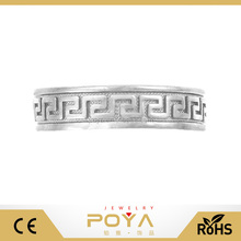 POYA Jewelry Plated 10k White Gold Stainless Steel Ring Adjustable Band Greek Key Mid Knuckle Ring