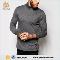 2016 Guangzhou Shandao 210g 92%cotton 8%spandex long sleeve plain dyed mens turtleneck t shirts
