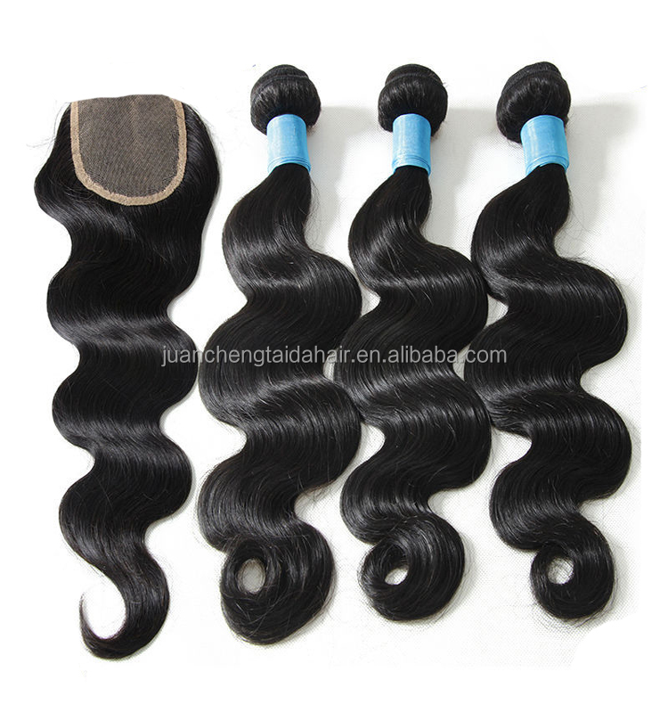 "Taida 2016 best brazilian hair body wave 8""-30"" natural color brazilian human hair 3 bundles virgin brazilian hairwith closure"