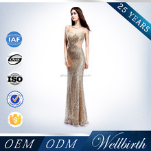 Gold Sequins Illusion Floor Length Famous Brand Heavy Beaded Haute Couture Evening Dresses