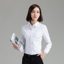 women clothing long sleeve office white plain blouse ladies formal shirts