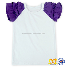 Baby Triple Ruffle Sleeves Cotton T shirt Girls Blank Ruffle Sleeve T-shirt Baby Babies Clothes