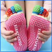 Ladies cotton yoga latex toe socks