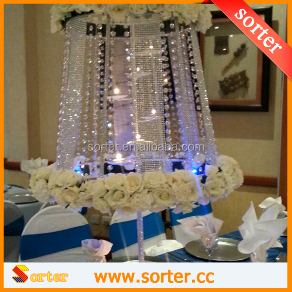 Hanging lucite fancy crystal acrylic garland wedding centerpiece