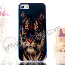 2014 Hottest Blue-ray IMD Craft Flexible TPU Tiger Case for iPhone 5 5S Back Cover