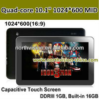 Quad-core Ultra-thin 10.1inch 1024*600(16:9) Capacitive Touch Screen table pc,5 Points Multi-touch,DDRIII 1GB, Built-in 16GB
