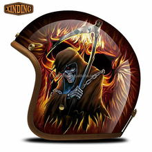 New Custom Open Face Scooter Chopper Motorcycle Helmet With Retro Helmet