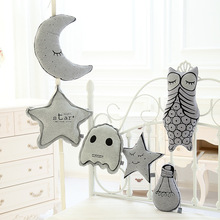 S64846A Noctilucent Stuffed Plush Glowing In The Night baby bed infant car Decor Owl Moon Star Bulb Toys Cushion