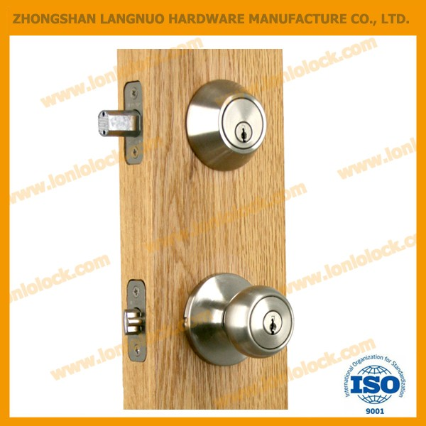 North American Polished Brass Keyed Alike combo lockset