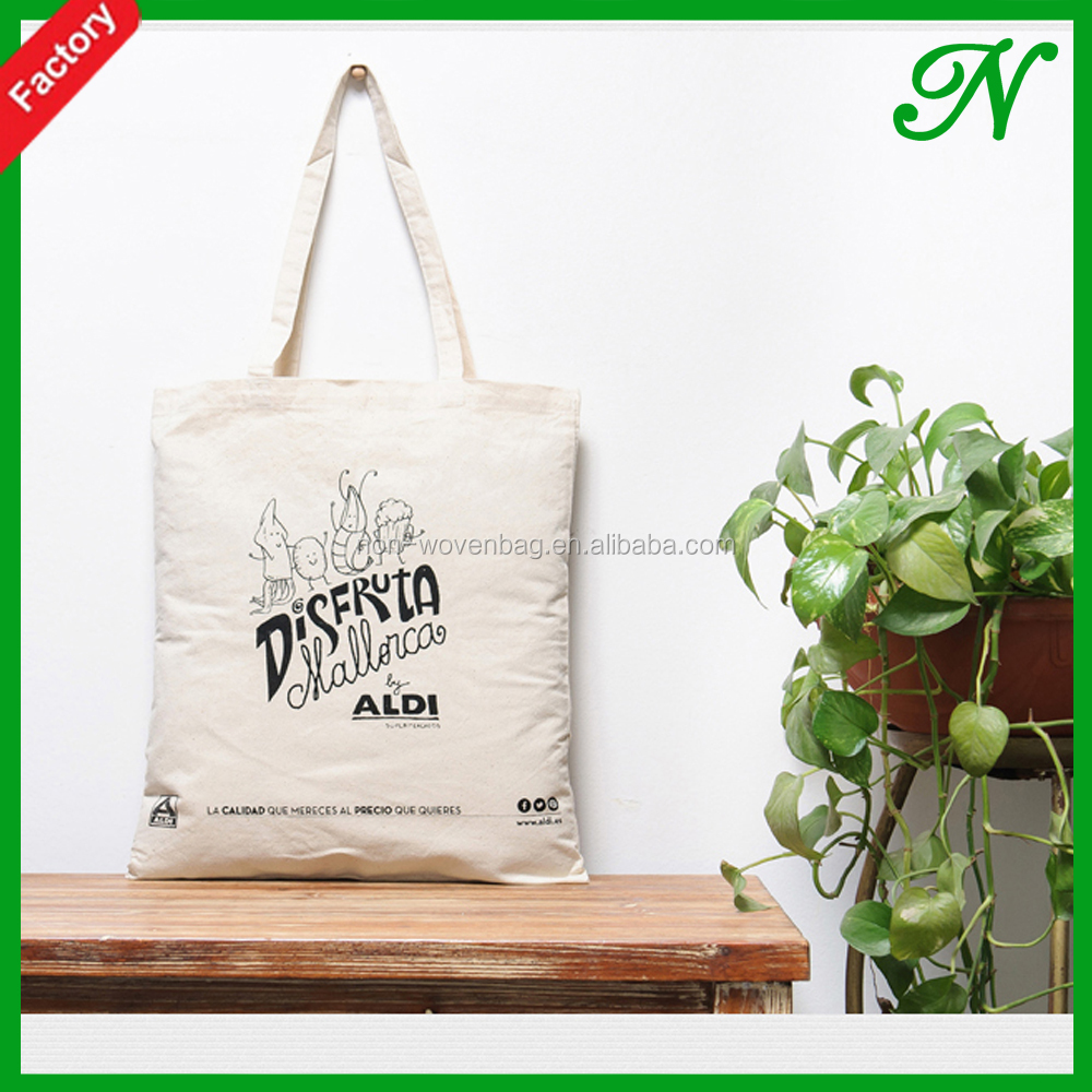 Long handle promotion 6OZ shopping cotton tote bag,Silk printed cotton shopping bag