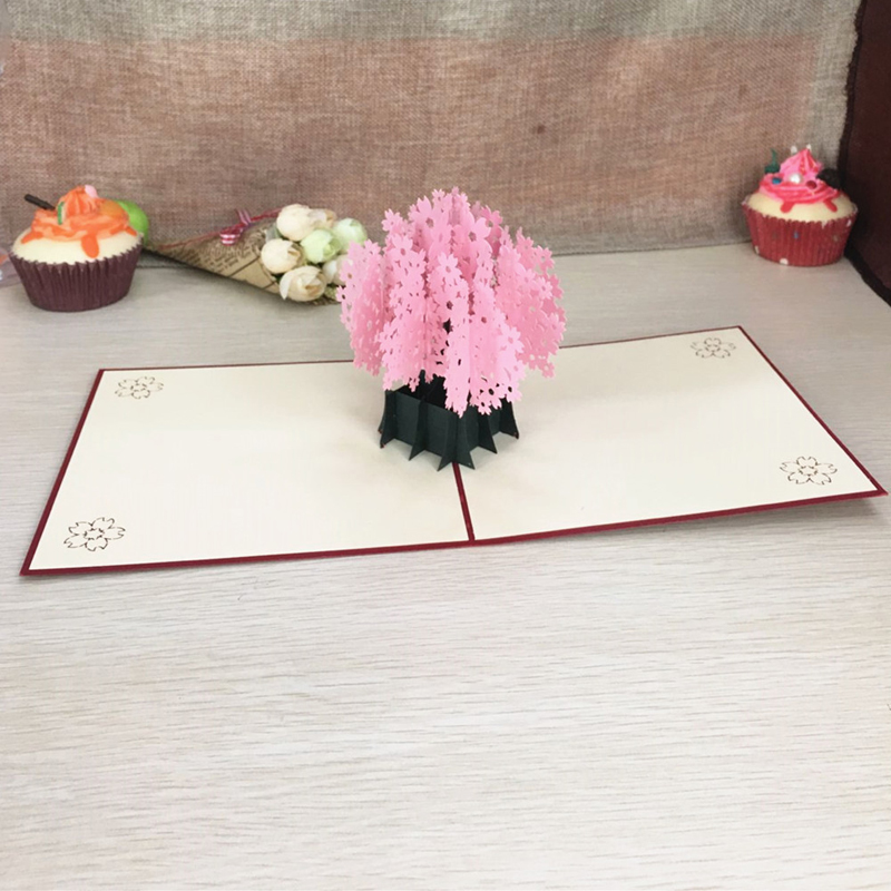 1pcs Laser Cut Kirigami 3D Pop UP Greeting & Gift Cards Gorgeous Cherry Blossoms Handmade Creative Thank You Cards Teachers' Day (5)